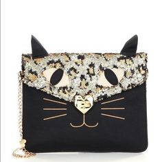 Betsey Johnson Sequin Cat Clutch Brand new with tag. Perfect for cat lovers  Betsey Johnson Bags Clutches & Wristlets