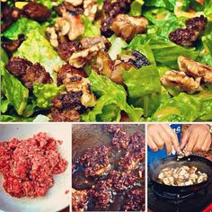 """Beef """"Crouton"""" & Toasted Walnut Salad with sauteed mushrooms by @dwightsrecipebook. Delicious, unique hearty salad for the #meatlovers out there! #Recipe: (1) Season lean, grass-fed ground beef with fennel seeds, finely minced garlic, salt and..."""