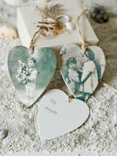 (via Vintage Heart Gift Tags - Nordic House) Great idea; personalize by scanning and printing old family photos or cut pics from a favorite travel magazine. Or hobby magazine. The possibilities are endless...
