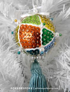 Multicolored Mosaic Rainbow Beaded and Sequin Ornament