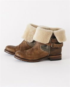 Poetry - Shearling Ankle Boot - A great pair of biker-inspired ankle boots. Adjustable, wrap-around strapping to pull the shearling lining close, the smooth leather has been polish to create a loved, vintage effect.With Goodyear welted soles, these boots are made for walking.  100% Leather