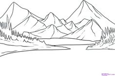 mountain drawing landscape simple easy scenery outline mountains sketch sunset drawings pencil beginners step