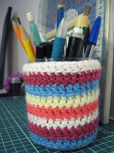 Tutorial para fazer porta lápis em crochê