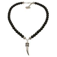 Alpenflüstern Männer Holzperlen Halskette Metall-Rehspitz (altsilber-farben)