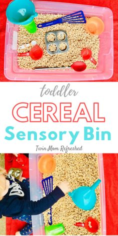 baby activities Need an edible sensory bin for your toddler Cereal Sensory Tub is easy to set up and completely edible. This is a fun imaginative play toddler activity that will keep your toddler busy and having fun while they practice life skills! Edible Sensory Play, Toddler Sensory Bins, Baby Sensory Play, Toddler Play, Sensory Tubs, Baby Play, Sensory Play For Babies, Toddler Meals, Indoor Activities For Toddlers