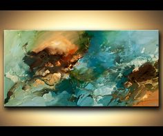 Original abstract art paintings by Osnat - blue green abstract painting