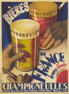 1920s Bieres De France French Liquor Ad Poster ...