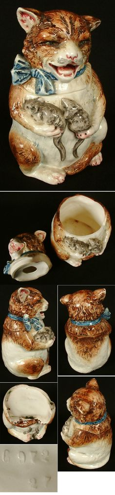 Cat Mice Tobacco Jar Majolica