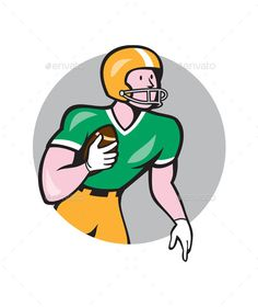 American Football Player Rusher Circle Retro