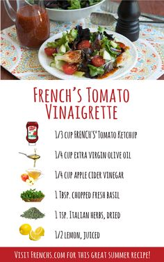Ketchup can be more than a topping for hot dogs and a dip for chicken nuggets. Try this delicious and refreshing vinaigrette salad dressing.