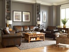 Epic 25 Adorable Traditional Living Room Furniture Design And Decor Ideas dsgndc. Gray Living Room Walls Brown Couch, Brown Leather Sofa Living Room, Brown And Blue Living Room, Cream Living Rooms, Living Room Sets, Living Room Designs, Living Room Ideas With Brown Sofa, Dark Brown Leather Sofa, Dark Brown Couch