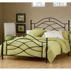 Cole Iron Bed by Hillsdale Furniture | Wrought Iron Metal Bed Frame Headboard Footboard