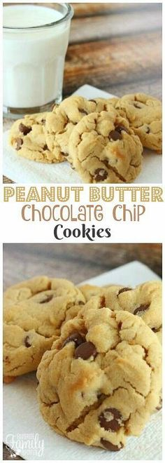 Peanut Butter Chocolate Chip Cookies are a combination of chocolate chip cookies and peanut butter cookies. Two amazing cookies made into one!