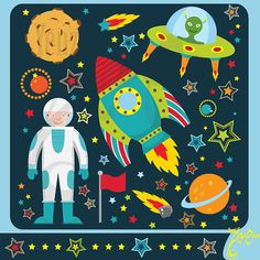 """Outer space clipart:""""OUTER SPACE""""clip art pack instant download Os001 spaceship,planets,rockets,stars for scrapbooking,card making,invites"""