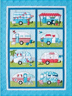 A fun pattern to appease the travel bug in you!   Featuring 8 different camper designs in fun, funky and colorful styles, this pattern is great for stitching up for the traveler in your life. You can even use each block individually to make mini wall hangings for your friends and loved ones. Included are full-size patterns, placement sheets and full instructions to make a quilt and wall hanging. Also included are 10 family member patterns, plus dog, cat and tent patterns.   Finished sizes:  ...