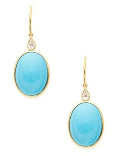 Piranesi Oval Turquoise & Diamond Earrings