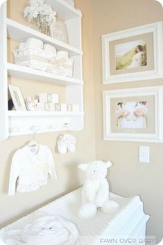 Tan and White Nursery http://www.fawnoverbaby.com/2013/05/diy-personalized-wooden-baby-blocks.html