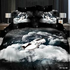 black-white-violin-music-3D-queen-Quilt-cover-Bed-Sheet-pillowcases-bedding-set