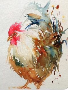 """I sure enjoy a beautiful rooster painting. Daily Paintworks - """"White Rooster"""" - Original Fine Art for Sale - © Arti Chauhan Chicken Painting, Chicken Art, Watercolor Bird, Watercolor Animals, Watercolor Drawing, Watercolor Landscape, Landscape Paintings, Arte Do Galo, Art Aquarelle"""
