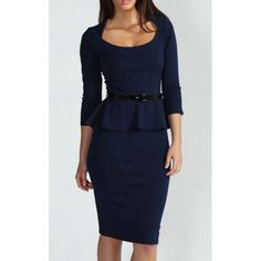 3/4 Sleeves Scoop Neck Belt Beam Waist Packet Buttock Flounces Sexy Women's Peplum Dress, DEEP BLUE, M in Dresses 2014 | DressLily.com