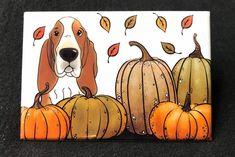 Excited to share this item from my shop: Basset Hound and Pumpkins Magnet, Fall Themed Kitchen & Locker Decor, Basset Hound Gifts, Party Favors and Stocking Stuffers Basset Hound Dog, Bassett Hound, Collie Dog, Animal Sketches, Dog Paintings, Autumn Theme, Dog Art, Puppy Love, Animals And Pets