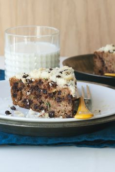 Zucchini bread with chocolate chip streusel topping baked in a cast-iron skillet!