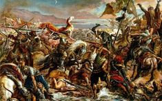 Władysław III of Poland leading the cavalry charge, by Jan Matejko. History Online, Barbarian, Medieval, Battle, War, Artist, Paintings, Google Search, Author
