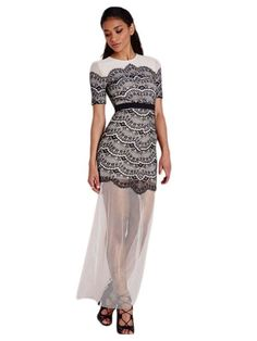 Black Lace Overlay Maxi Dress MAVERLLY