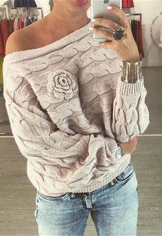 Super comfy and super chic! Shop 'Bat Sleeves Off Shoulder Sweater' on fashionfrenzzie.com ! Price: $45.00  #fashionfrenzzie