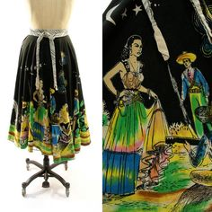 50s Hand Painted Mexican Circle Skirt by nickiefrye on Etsy, $88.00