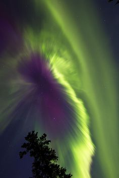 An aurora in Whitehorse Yukon Canada that appeared in the sky in the  early hours of Oct. 1, 2012 due to the effects of a coronal mass  ejection that erupted from the sun three days earlier. (Image Courtesy of Joseph Bradley)