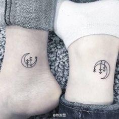 temporary tattoo romantic tiny moon and tree Festival gifts holiday gift body skin sticker art tattoo paper tattoo wrist arm foot neck Mini Tattoos, Body Art Tattoos, Small Tattoos, Tatoos, Tattoo Art, Matching Bff Tattoos, Freundin Tattoos, Kunst Tattoos, Bff Tattoos