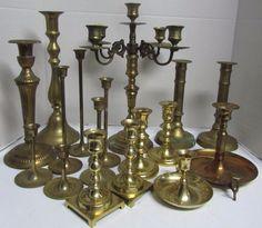 Vintage Brass Candlesticks Candleholders Lot of 17 - Patina - Weddings Free Ship Candleholders, Candlesticks, Brass Candle Holders, Free Wedding, Wedding Decorations, Ship, Weddings, Ebay, Vintage