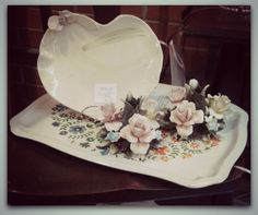#Capodimonte candleholders are a great #vintageValentines gift idea for your sweetie! #Vintage metal trays, furniture and more on sale now at Monmouth Street Emporium, 27 Monmouth St in Red Bank! and at https://www.etsy.com/people/mermaidwatch?ref=si_pr