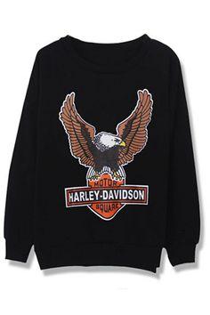 ROMWE | Black Long Sleeve Eagle Print Loose Sweatshirt, The Latest Street Fashion