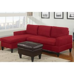 PNDX 3 pc Red microfiber apartment size sectional sofa with reversible chaise and faux leather ottoman