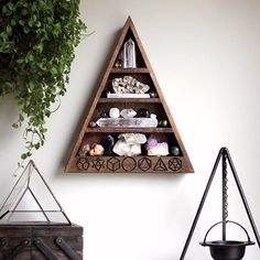 Please allow up to 5 days for your Sacred Geometry shelf to leave our studio. Please verify shelf dimensions prior to placing your order. Thank you! Included in this design are the 5 Platonic Solids. These shapes are examples of polyhedra, all of whose faces are congruent regular polygons and where the same number of faces meet at every vertex. The earliest description of them as a group is in Platos Timaeus. All 5 of these sacred shapes are contained within Metatrons Cube. All creations in…