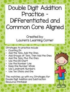 In need of differentiated math practice?  This set of printables include math fact practice for double digit addition.  This set is designed for second grade but would work well for first graders who are exceeding grade level expectations or for third graders who are not yet meeting grade level expectations or struggling with certain skills.