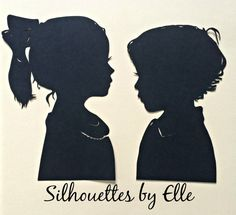 Two Hand Cut Custom Silhouette Portraits  by SilhouettesbyElle