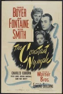 The Constant Nymph is a 1943 romantic drama film starring Charles Boyer, Joan Fontaine, Alexis Smith, Brenda Marshall, Charles Coburn, May Whitty, and Peter Lorre.[1] It was adapted by Kathryn Scola from the Margaret Kennedy novel and play by Kennedy and Basil Dean, and directed by Edmund Goulding.  Fontaine was nominated for the Academy Award for Best Actress, but lost to Jennifer Jones for The Song of Bernadette.
