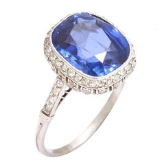 Antique Sapphire and Diamond Ring | From a unique collection of vintage solitaire rings at http://www.1stdibs.com/jewelry/rings/solitaire-rings/