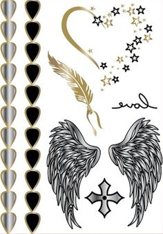 Metallic Gold Silver and Black Angel Wings Arm Candy Temporary Tattoos #tattoos #tattoo #hennatattoo #temporarytattoo #gold #silver #tribaltatoos #makeup #coverup #mua #flash #celebrity #nailart #fall #winter #fashion #deals #win #love #diy #glamping #bodyjewelry #facetattoo #hidescars #christiantattoo #nailtattoo #tribetattoos #tattoosbyjoshanni