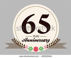 65 years anniversary logo with oval shape, flower, and ribbon. anniversary for birthday, wedding, celebration, and party