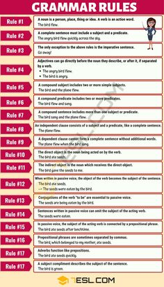 18 Basic Grammar Rules: English Sentence Structure 18 Basic English Grammar Rules with Useful Examples – 7 E S L English Grammar Tenses, Basic Grammar, Teaching English Grammar, English Grammar Worksheets, English Vocabulary Words, Learn English Words, English Language Learning, Grammar Lessons, Grammar Skills