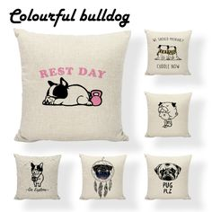 Designer Workout Puppy Pug Red French Bulldog Sloth Cushion Cover Aztec Feather Birthday 45X45Cm Linen Lounger Throw Pillow Case //Price: $9.95 & FREE Shipping //