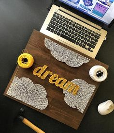 Items similar to String Art Dream/String Art Clouds/Dream Wall Art/String Art Board/Nail and String Art/Dream and Clouds/Dream Nails/Clouds Nails/Wood Decor on Etsy String Art Templates, String Art Tutorials, String Art Patterns, Doily Patterns, Dress Patterns, Nail String Art, String Crafts, Cute Crafts, Diy And Crafts