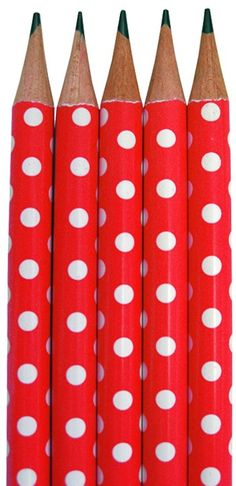 Polka Dot Red pencils....must have a few just for fun.