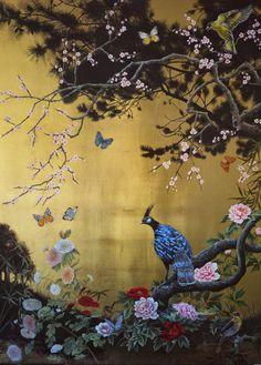 """Twilight"" by Ruth Winding Art Oriental Wallpaper, Chinoiserie Wallpaper, Classic Wall Paint, Fleurs Art Nouveau, Feuille D'or, Gold Leaf Art, Kids Room Wall Art, Painting Wallpaper, Large Art"