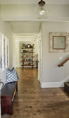 SW repose gray-The interior paint color throughout the house is Sherwin Williams Repose Gray Interior Paint Colors, Gray Interior, Paint Colors For Home, Interior Design, Natural Interior, Interior Office, Interior Trim, Cozy Living Rooms, Living Room Colors