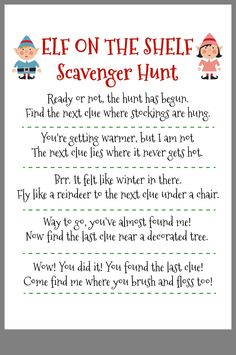 Fun elf on the shelf idea your kids will love. A free printable scavenger hunt for elf on a shelf. Fun elf on the shelf idea your kids will love. A free printable scavenger hunt for elf on a shelf. Merry Christmas, Christmas Elf, Christmas Trimmings, Christmas 2017, Christmas Birthday, 21st Birthday, Christmas Ideas, Christmas Crafts, Christmas Decorations